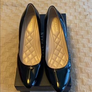 Black patent wedge shoes